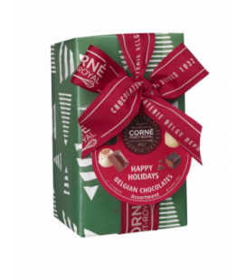 Ballotin 16 chocolats assortis avec crème fraîche Papier Noël et ruban