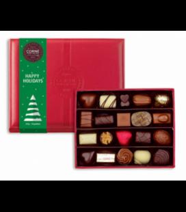Boîte cuir rouge avec fourreau Noël garnie 20 chocolats assortis sans alcool