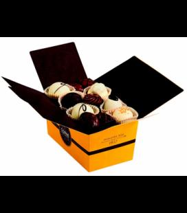 Ballotin 33 chocolats assortis avec crème Papier Jaune et ruban marron