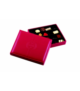Boîte cuir rouge garnie 20 chocolats assortis sans alcool
